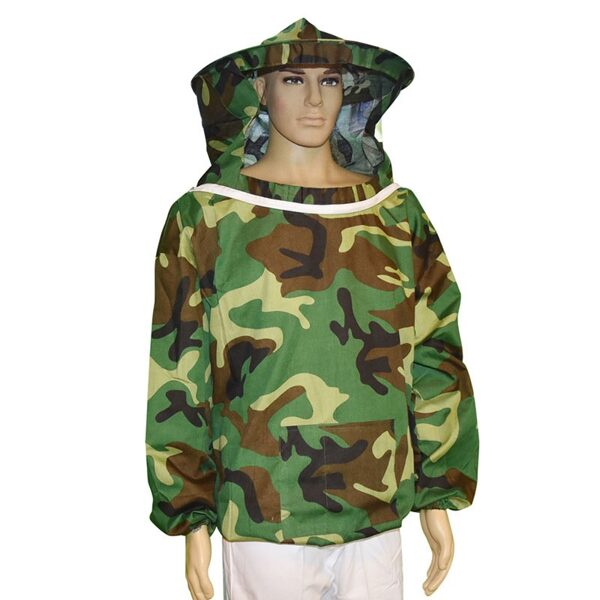 Beekeeper jacket with hat, camouflage